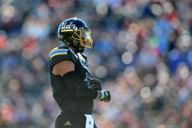 Dec 31, 2013; El Paso, TX, USA; UCLA Bruins linebacker Anthony Barr (11) during the game against the Virginia Tech Hokies in the 2013 Sun Bowl at Sun Bowl Stadium. UCLA defeated Virginia Tech 42-12. Mandatory Credit: Andrew Weber-USA TODAY Sports