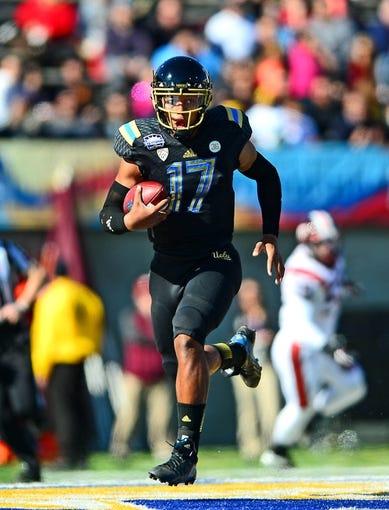 Dec 31, 2013; El Paso, TX, USA; UCLA Bruins quarterback Brett Hundley (17) before the game against the Virginia Tech Hokies in the 2013 Sun Bowl at Sun Bowl Stadium. UCLA defeated Virginia Tech 42-12. Mandatory Credit: Andrew Weber-USA TODAY Sports
