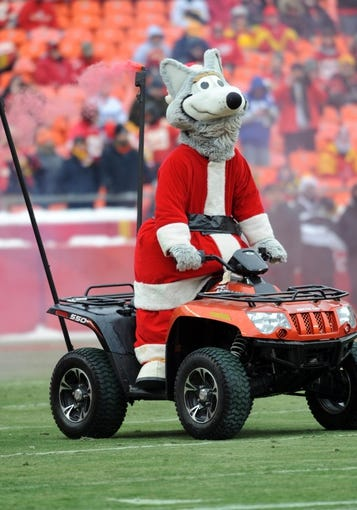Dec 22, 2013; Kansas City, MO, USA; The Kansas City Chiefs mascot KC Wolf performs for the crowd before the game against the Indianapolis Colts at Arrowhead Stadium. The Colts won 23-7. Mandatory Credit: Denny Medley-USA TODAY Sports