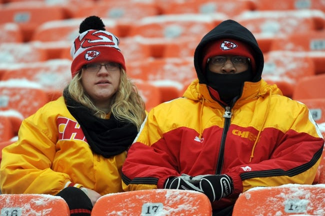 Dec 22, 2013; Kansas City, MO, USA; Kansas City Chiefs fans watch the teams warm up before the game against the Indianapolis Colts at Arrowhead Stadium. The Colts won 23-7. Mandatory Credit: Denny Medley-USA TODAY Sports
