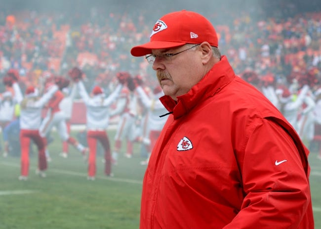 Dec 22, 2013; Kansas City, MO, USA; Kansas City Chiefs head coach Andy Reid walks onto the field before the game against the Indianapolis Colts at Arrowhead Stadium. The Colts won 23-7. Mandatory Credit: Denny Medley-USA TODAY Sports