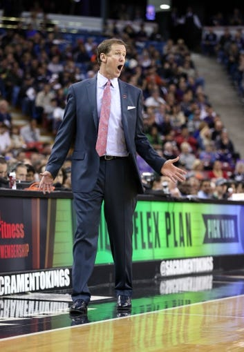 Jan 7, 2014; Sacramento, CA, USA; Portland Trail Blazers head coach Terry Stotts calls out to his players during the third quarter against the Sacramento Kings at Sleep Train Arena. The Sacramento Kings defeated the Portland Trail Blazers 123-119. Mandatory Credit: Kelley L Cox-USA TODAY Sports