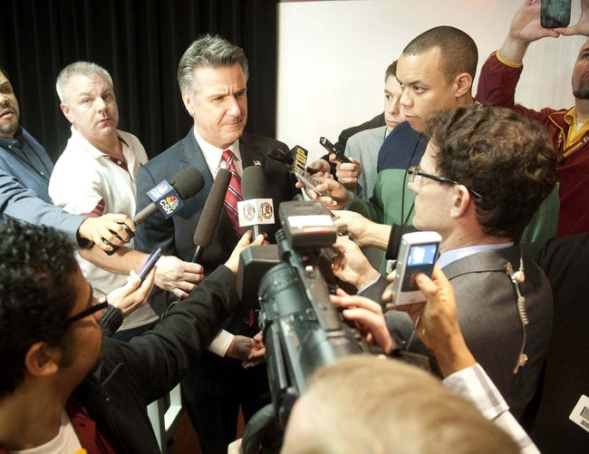 Jan 9, 2014; Ashburn, VA, USA; Washington Redskins general manager Bruce Allen talks with the media during a press conferences at Redskins Park Team Auditorium. Mandatory Credit: Brad Mills-USA TODAY Sports