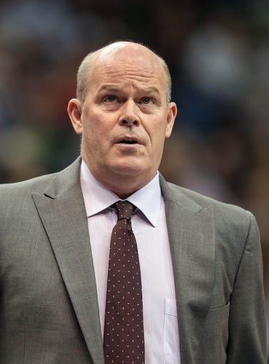 Jan 10, 2014; Minneapolis, MN, USA; Charlotte Bobcats head coach Steve Clifford in the second quarter against the Minnesota Timberwolves at Target Center. Minnesota wins 119-92. Mandatory Credit: Brad Rempel-USA TODAY Sports