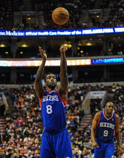 Jan 11, 2014; Philadelphia, PA, USA; Philadelphia 76ers shooting guard Tony Wroten (8) shoots from the foul line during the game against the New York Knicks at the Wells Fargo Center. The New York Knicks won 102-92.Mandatory Credit: John Geliebter-USA TODAY Sports