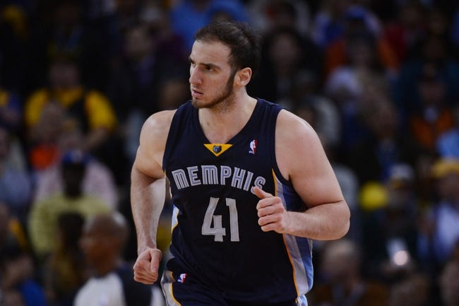 November 20, 2013; Oakland, CA, USA; Memphis Grizzlies center Kosta Koufos (41) jogs back to defend during the fourth quarter against the Golden State Warriors at Oracle Arena. The Grizzlies defeated the Warriors 88-81 in overtime. Mandatory Credit: Kyle Terada-USA TODAY Sports