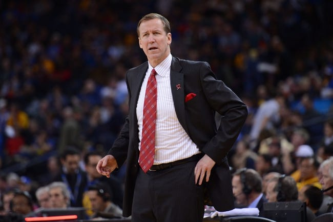 November 23, 2013; Oakland, CA, USA; Portland Trail Blazers head coach Terry Stotts looks on during the third quarter against the Golden State Warriors at Oracle Arena. The Trail Blazers defeated the Warriors 113-101. Mandatory Credit: Kyle Terada-USA TODAY Sports