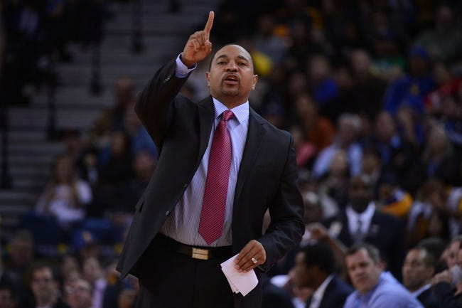 December 3, 2013; Oakland, CA, USA; Golden State Warriors head coach Mark Jackson instructs during the second quarter against the Toronto Raptors at Oracle Arena. The Warriors defeated the Raptors 112-103. Mandatory Credit: Kyle Terada-USA TODAY Sports
