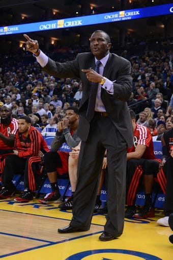 December 3, 2013; Oakland, CA, USA; Toronto Raptors head coach Dwane Casey instructs during the fourth quarter against the Golden State Warriors at Oracle Arena. The Warriors defeated the Raptors 112-103. Mandatory Credit: Kyle Terada-USA TODAY Sports