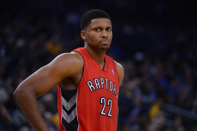 December 3, 2013; Oakland, CA, USA; Toronto Raptors small forward Rudy Gay (22) looks on during the third quarter against the Golden State Warriors at Oracle Arena. The Warriors defeated the Raptors 112-103. Mandatory Credit: Kyle Terada-USA TODAY Sports