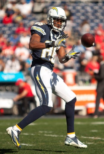Dec 29, 2013; San Diego, CA, USA;  San Diego Charger wide receiver Vincent Brown (86) warms up prior to the Chargers game against the Kansas City Chiefs at Qualcomm Stadium. Mandatory Credit: Stan Liu-USA TODAY Sports