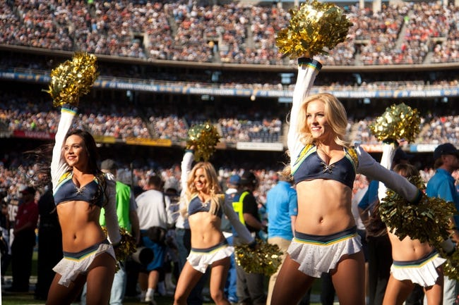 Dec 29, 2013; San Diego, CA, USA;  The San Diego Chargers girl cheerleaders perform during the Chargers game against the Kansas City Chiefs at Qualcomm Stadium. Mandatory Credit: Stan Liu-USA TODAY Sports