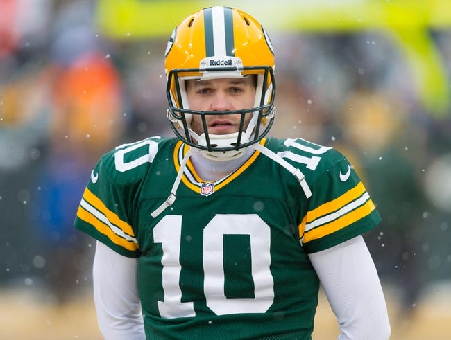 Dec 22, 2013; Green Bay, WI, USA; Green Bay Packers quarterback Matt Flynn (10) during warmups prior to the game against the Pittsburgh Steelers at Lambeau Field.  Pittsburgh won 38-31.  Mandatory Credit: Jeff Hanisch-USA TODAY Sports
