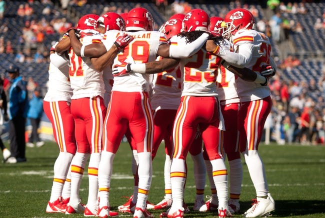 Dec 29, 2013; San Diego, CA, USA;  The Kansas City Chiefs defensive backs huddle prior to the Chiefs 27-24 overtime loss to the San Diego Chargers at Qualcomm Stadium. Mandatory Credit: Stan Liu-USA TODAY Sports