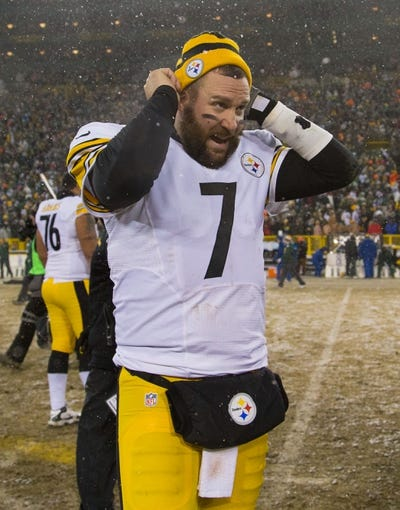 Dec 22, 2013; Green Bay, WI, USA; Pittsburgh Steelers quarterback Ben Roethlisberger (7) following the game against the Green Bay Packers at Lambeau Field.  Pittsburgh won 38-31.  Mandatory Credit: Jeff Hanisch-USA TODAY Sports