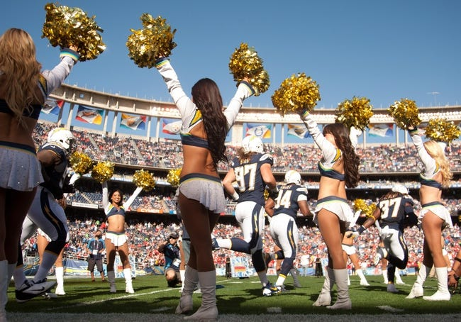 Dec 29, 2013; San Diego, CA, USA;  The San Diego Chargers take the field at the start of the Chargers game against the Kansas City Chiefs at Qualcomm Stadium. Mandatory Credit: Stan Liu-USA TODAY Sports