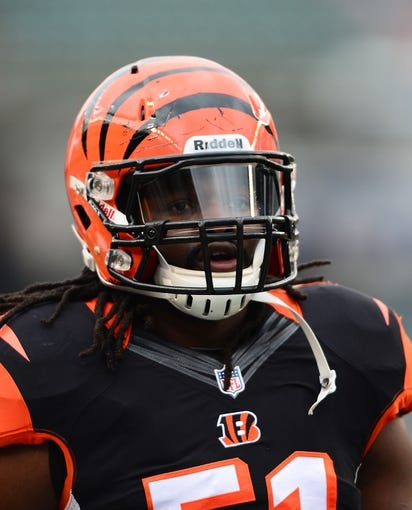 Dec 29, 2013; Cincinnati, OH, USA; Cincinnati Bengals linebacker Jayson DiManche (51)against the Baltimore Ravens at Paul Brown Stadium. Bengals defeated the Ravens 34-17. Mandatory Credit: Andrew Weber-USA TODAY Sports