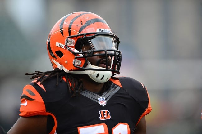 Dec 29, 2013; Cincinnati, OH, USA; Cincinnati Bengals linebacker Jayson DiManche (51) against the Baltimore Ravens at Paul Brown Stadium. Bengals defeated the Ravens 34-17. Mandatory Credit: Andrew Weber-USA TODAY Sports