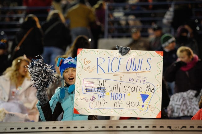 Dec 31, 2013; Memphis, TN, USA; Rice Owls fan against the Mississippi State Bulldogs during the game at Liberty Bowl Memorial Stadium. Mississippi State Bulldogs beat Rice Owls 44 - 7. Mandatory Credit: Justin Ford-USA TODAY Sports