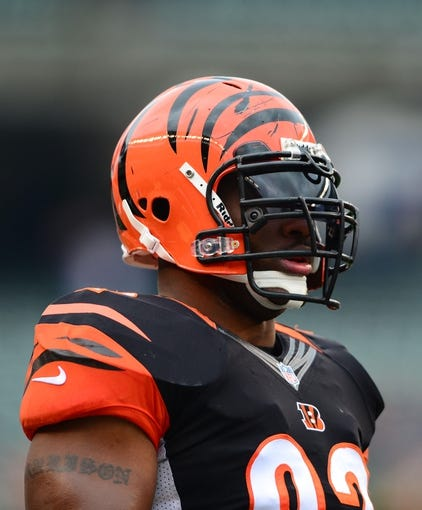 Dec 29, 2013; Cincinnati, OH, USA; Cincinnati Bengals outside linebacker James Harrison (92) against the Baltimore Ravens at Paul Brown Stadium. Bengals defeated the Ravens 34-17. Mandatory Credit: Andrew Weber-USA TODAY Sports