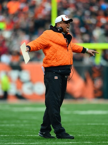 Dec 29, 2013; Cincinnati, OH, USA; Cincinnati Bengals defensive line coach Jay Hayes against the Baltimore Ravens at Paul Brown Stadium. Bengals defeated the Ravens 34-17. Mandatory Credit: Andrew Weber-USA TODAY Sports