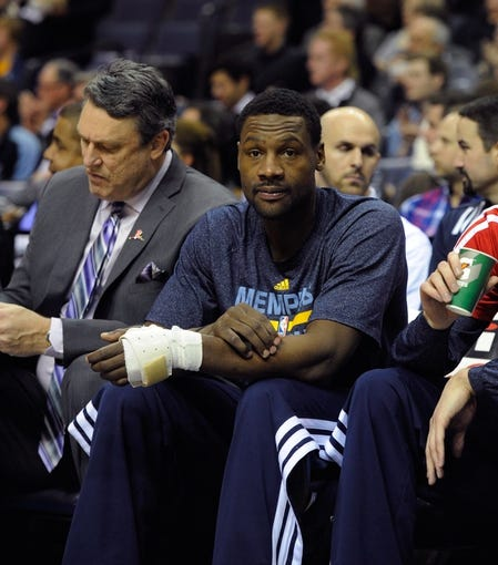 Jan 7, 2014; Memphis, TN, USA; Memphis Grizzlies shooting guard Tony Allen (9) on the bench during the first quarter against the San Antonio Spurs at FedExForum. the San Antonio Spurs beat the Memphis Grizzlies 110 - 108 Mandatory Credit: Justin Ford-USA TODAY Sports