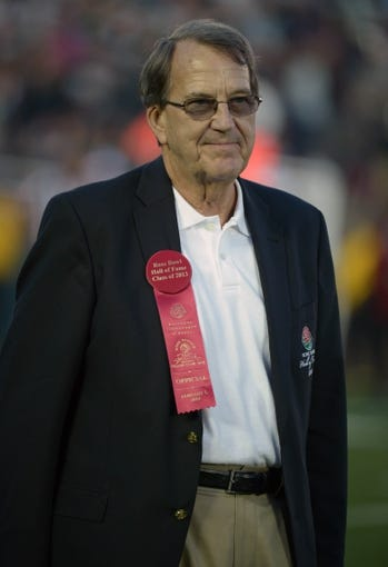 Jan 1, 2014; Pasadena, CA, USA; Michigan Wolverines former coach and Rose Bowl hall of fame inductee Lloyd Carr at the 100th Rose Bowl.  Mandatory Credit: Kirby Lee-USA TODAY Sports