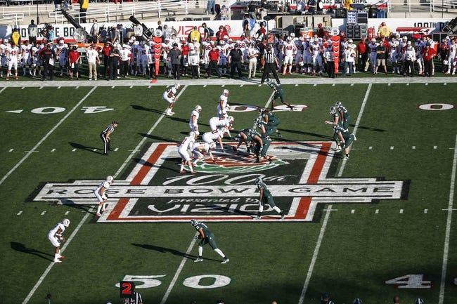 Jan 1, 2014; Pasadena, CA, USA; General view of the 100th Rose Bowl logo. Mandatory Credit: Kirby Lee-USA TODAY Sports