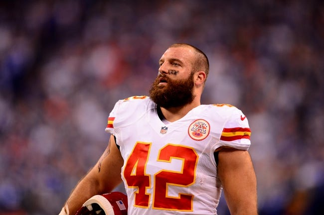 Jan 4, 2014; Indianapolis, IN, USA; Kansas City Chiefs fullback Anthony Sherman (42) during the 2013 AFC wild card playoff football game against the Indianapolis Colts at Lucas Oil Stadium. Mandatory Credit: Andrew Weber-USA TODAY Sports