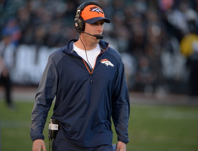 Dec 29, 2013; Oakland, CA, USA; Denver Broncos offensive coordinator Adam Gase during the game against the Oakland Raiders at O.co Coliseum. The Broncos defeated the Raiders 34-14. Mandatory Credit: Kirby Lee-USA TODAY Sports