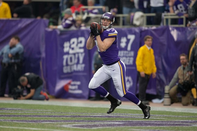 Dec 29, 2013; Minneapolis, MN, USA; Minnesota Vikings tight end Chase Ford (86) catches the kickoff to open the game with the Detroit Lions at Mall of America Field at H.H.H. Metrodome. The Vikings win 14-13. Mandatory Credit: Bruce Kluckhohn-USA TODAY Sports