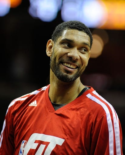 Jan 7, 2014; Memphis, TN, USA; San Antonio Spurs power forward Tim Duncan (21) before the game against the Memphis Grizzlies at FedExForum. the San Antonio Spurs beat the Memphis Grizzlies 110 - 108 Mandatory Credit: Justin Ford-USA TODAY Sports