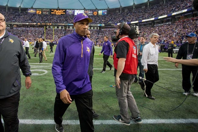 Dec 29, 2013; Minneapolis, MN, USA; Minnesota Vikings head coach Leslie Frazier leaves the field after the game with the Detroit Lions at Mall of America Field at H.H.H. Metrodome. The Vikings win 14-13. Mandatory Credit: Bruce Kluckhohn-USA TODAY Sports