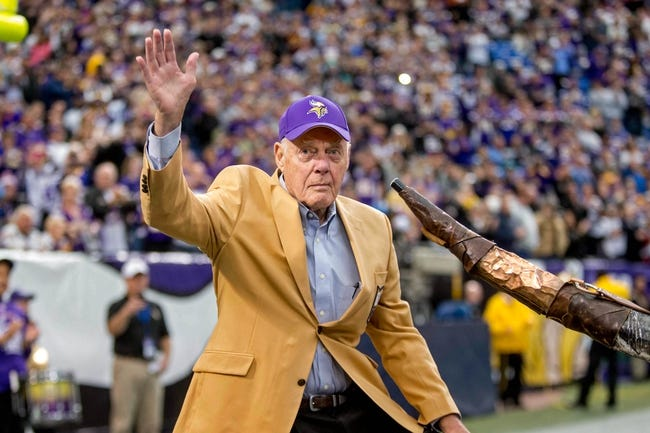 Dec 29, 2013; Minneapolis, MN, USA; Minnesota Vikings former head coach Bud Grant acknowledges the crowd during a ceremony before the game with the Detroit Lions at Mall of America Field at H.H.H. Metrodome. The Vikings win 14-13. Mandatory Credit: Bruce Kluckhohn-USA TODAY Sports