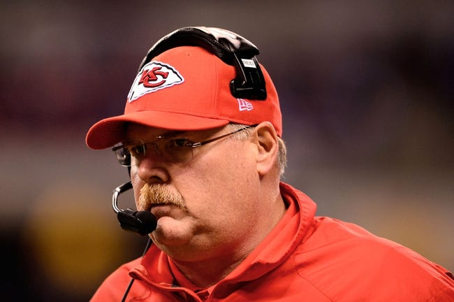 Jan 4, 2014; Indianapolis, IN, USA; Kansas City Chiefs head coach Andy Reid during the 2013 AFC wild card playoff football game against the Indianapolis Colts at Lucas Oil Stadium. Mandatory Credit: Andrew Weber-USA TODAY Sports