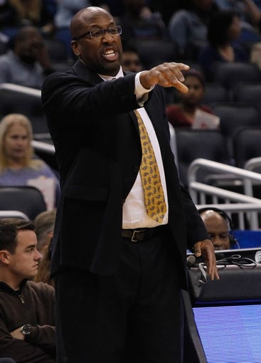 Dec 13, 2013; Orlando, FL, USA; Cleveland Cavaliers head coach Mike Brown against the Orlando Magic during the first quarter at Amway Center. Mandatory Credit: Kim Klement-USA TODAY Sports
