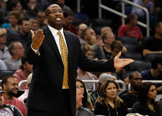 Dec 13, 2013; Orlando, FL, USA; Cleveland Cavaliers head coach Mike Brown reacts against the Orlando Magic during the second half at Amway Center. Cleveland Cavaliers defeated the Orlando Magic 109-100. Mandatory Credit: Kim Klement-USA TODAY Sports