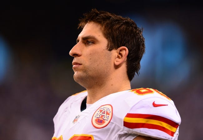Jan 4, 2014; Indianapolis, IN, USA; Kansas City Chiefs tight end Anthony Fasano (80) during the 2013 AFC wild card playoff football game against the Indianapolis Colts at Lucas Oil Stadium. Mandatory Credit: Andrew Weber-USA TODAY Sports