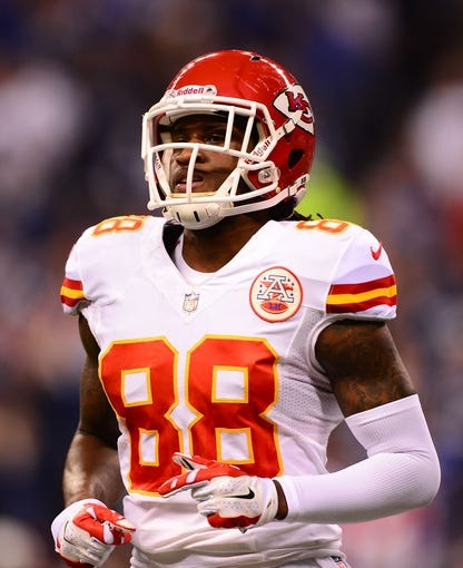 Jan 4, 2014; Indianapolis, IN, USA; Kansas City Chiefs wide receiver Junior Hemingway (88) during the 2013 AFC wild card playoff football game against the Indianapolis Colts at Lucas Oil Stadium. Mandatory Credit: Andrew Weber-USA TODAY Sports