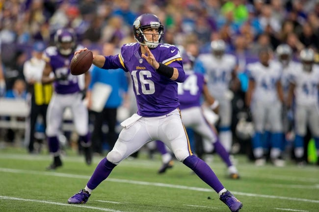 Dec 29, 2013; Minneapolis, MN, USA; Minnesota Vikings quarterback Matt Cassel (16) passes against the Detroit Lions in the third quarter at Mall of America Field at H.H.H. Metrodome. The Vikings win 14-13. Mandatory Credit: Bruce Kluckhohn-USA TODAY Sports