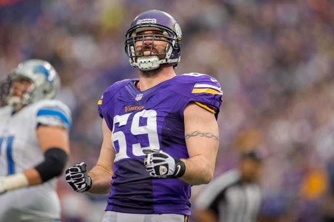 Dec 29, 2013; Minneapolis, MN, USA; Minnesota Vikings defensive end Jared Allen (69) reacts against the Detroit Lions in the second quarter at Mall of America Field at H.H.H. Metrodome. The Vikings win 14-13. Mandatory Credit: Bruce Kluckhohn-USA TODAY Sports