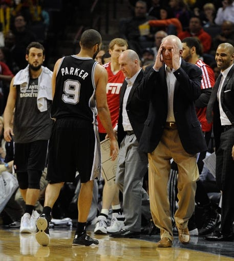 Jan 7, 2014; Memphis, TN, USA; San Antonio Spurs head coach Gregg Popovich during the game against the Memphis Grizzlies at FedExForum. the San Antonio Spurs beat the Memphis Grizzlies 110 - 108 Mandatory Credit: Justin Ford-USA TODAY Sports