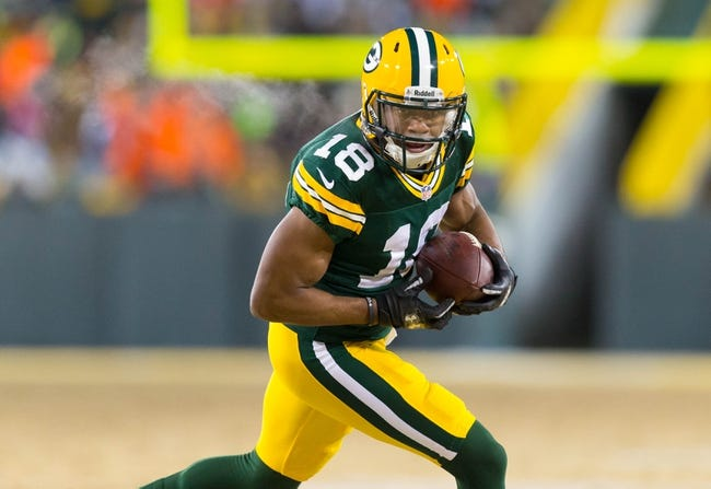 Jan 5, 2014; Green Bay, WI, USA; Green Bay Packers wide receiver Randall Cobb (18) during the 2013 NFC wild card playoff football game against the San Francisco 49ers at Lambeau Field.  San Francisco won 23-20.  Mandatory Credit: Jeff Hanisch-USA TODAY Sports