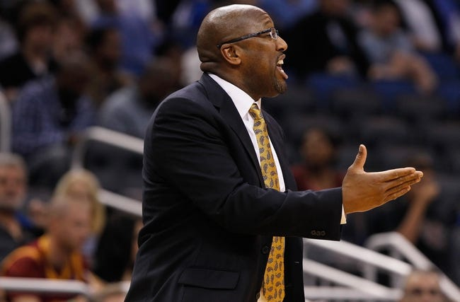 Dec 13, 2013; Orlando, FL, USA; Cleveland Cavaliers head coach Mike Brown calls a play against the Orlando Magic during the second half at Amway Center. Cleveland Cavaliers defeated the Orlando Magic 109-100. Mandatory Credit: Kim Klement-USA TODAY Sports