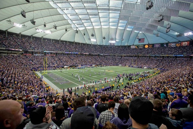 Dec 29, 2013; Minneapolis, MN, USA; The Minnesota Vikings fans celebrate a 50 yard punt return against the Detroit Lions in the fourth quarter at the last game at Mall of America Field at H.H.H. Metrodome. The Vikings win 14-13. Mandatory Credit: Bruce Kluckhohn-USA TODAY Sports