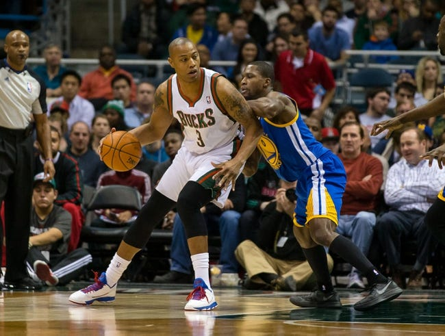 Jan 7, 2014; Milwaukee, WI, USA; Milwaukee Bucks forward Caron Butler (3) during the game against the Golden State Warriors at BMO Harris Bradley Center.  Golden State won 101-80.  Mandatory Credit: Jeff Hanisch-USA TODAY Sports