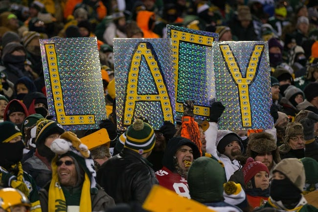 Jan 5, 2014; Green Bay, WI, USA; A Green Bay Packers fan holds up a sign during the 2013 NFC wild card playoff football game against the San Francisco 49ers at Lambeau Field.  San Francisco won 23-20.  Mandatory Credit: Jeff Hanisch-USA TODAY Sports