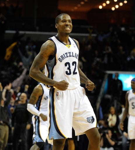 Jan 7, 2014; Memphis, TN, USA; Memphis Grizzlies power forward Ed Davis (32) celebrates after a play against the San Antonio Spurs during the fourth quarter at FedExForum. the San Antonio Spurs beat the Memphis Grizzlies 110 - 108 Mandatory Credit: Justin Ford-USA TODAY Sports