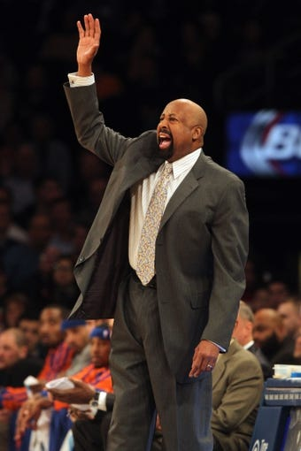 Jan 13, 2014; New York, NY, USA; New York Knicks head coach Mike Woodson coaches against the Phoenix Suns during the first quarter of a game at Madison Square Garden. Mandatory Credit: Brad Penner-USA TODAY Sports