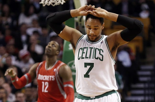 Jan 13, 2014; Boston, MA, USA; Boston Celtics power forward Jared Sullinger (7) heads back up court after being called for a foul during the second half of their 104-92 loss to the Houston Rockets at TD Garden. Mandatory Credit: Winslow Townson-USA TODAY Sports